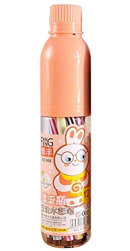 Stylo à Coloriage pour Enfants en Portable en forme de Cuvette, Crayons de Couleur Set 24/24/36 Couleurs Aquarelle Stylos à Brosse(La couleur de la coquille est aléatoire)