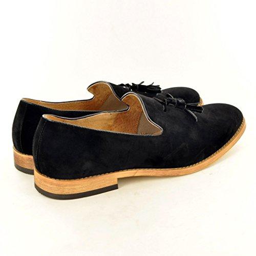 My Perfect Pair Da uomo, in pelle foderato slip on Suede nappa mocassini scarpe Black