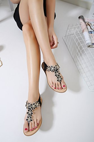 Infradito Mare Donna Estive - Landove Sandali Moda con Strass Boemo Stile Scarpe Piatto Tacco Pantofole nero 02