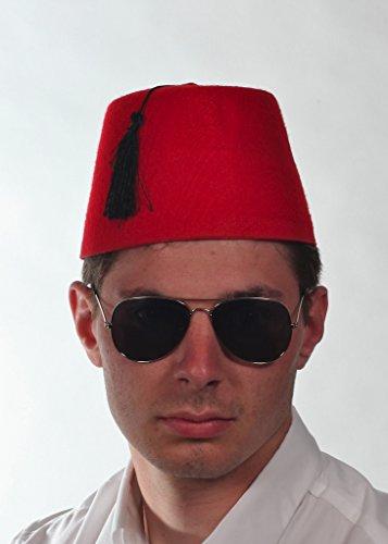 Red Erwachsenen Fez Mütze Fancy Dess Party Fasching Hut/Party-Hut mit schwarzem Band (Captian Hat)