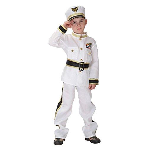 �m Kinder Marine Kostüm Seemann Uniform Outfit Set - L (Navy Admiral Kind Kostüme)