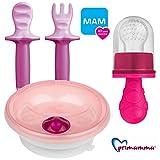 MAM Kindergeschirr - Set Girl mit Lernbesteck MAM Dipper Set 6+ & Primamma Fruchtsauger Girl