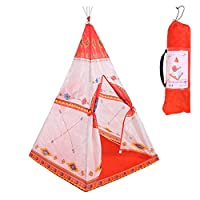 Augproveshak Kids play Tents, Foldable Teepee Play Tent, Playhouse for Kids, Classic Indian Style Play Tent with Carry Bag, Window and Floor