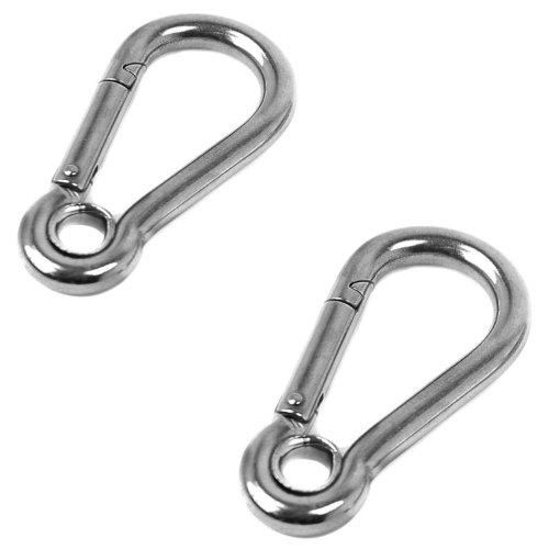 2 x 6mm x 60mm Stainless Steel CARABINA Eye snap Hook