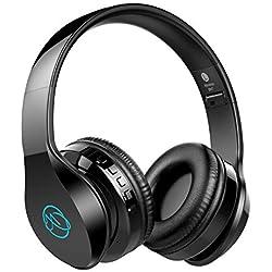 Casque Bluetooth, Macrourt Casque Audio avec LED Casque stéréo, Hi-FI, Pliable, sans Fil, Réduction du Bruit, Bluetooth 4.2, Compatible avec iPhone, iPad, Mac, PC