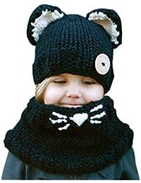 Demarkt 1 Set Unisexe Enfants Hiver Mignon Chat Tricot Chapeau Écharpe Peluche Bonnet Cache Oreilles Hats Pour Ski Chaud Chapeau Écharpe Convient 3-9 ans