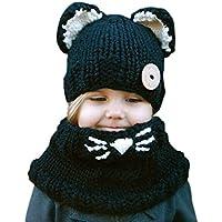 Demarkt 1 Juego Unisexo Niños Invierno Sombrero Tejido de Punto Sombrero Tejido Hermoso Búho Sombreros de Punto Bufanda en Forma de Anillo Negro