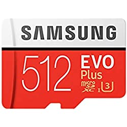 Samsung Mémoire Mb-Mc512Gaeu Evo Plus de 512 Go Carte Micro SD avec Adaptateur, Rouge/Blanc, 512 Go