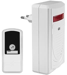 mumbi Sonnette de porte sans fil à brancher directement avec système clignotant Portée 75 m