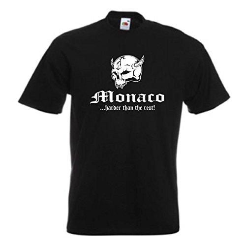 T-Shirt MONACO harder than the rest, schwarzes Baumwoll Ländershirt mit Totenkopf & Schriftzug, große Größen bis 12XL (WMS05-39a) Schwarz