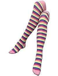 Blau & Gelb Gestreifte Rosa Overknee Socken