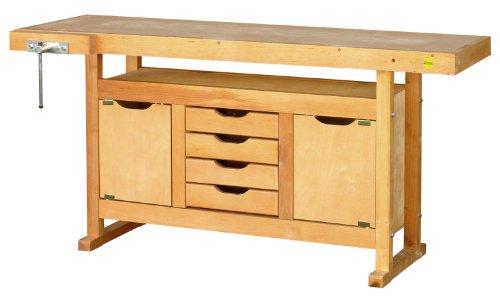 Outifrance 0013115 Etabli bois avec caisson 1,5 Mètre: 2 porte et 4 tiroirs, Beige