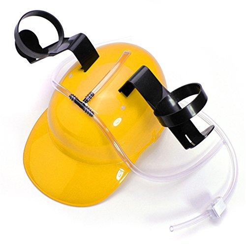 Aliciashouse Creative Hard Hat Helmet Beer Soda Dual Can Drinking Straw Drinking Cap Helmet -Yellow