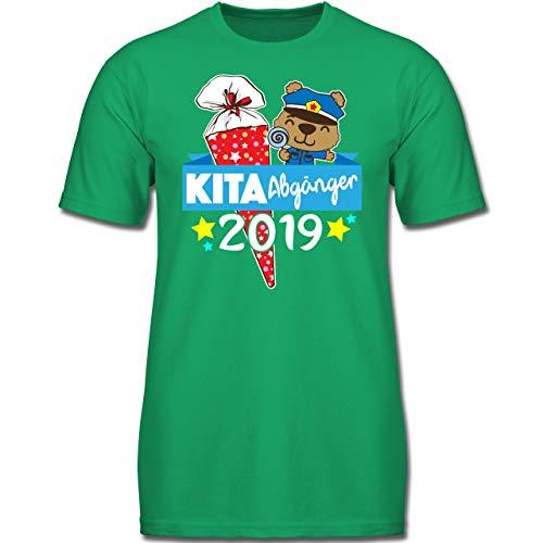 Einschulung und Schulanfang - Kita Abgänger 2019 Schultüte und Polizeibär - 116 (5-6 Jahre) - Grün - F130K - Jungen Kinder T-Shirt (Die Lutscher Grünen Und Roten)