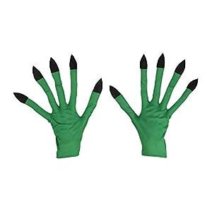 WIDMANN?Guantes Bruja para adultos, color verde, talla única, vd-wdm9422b