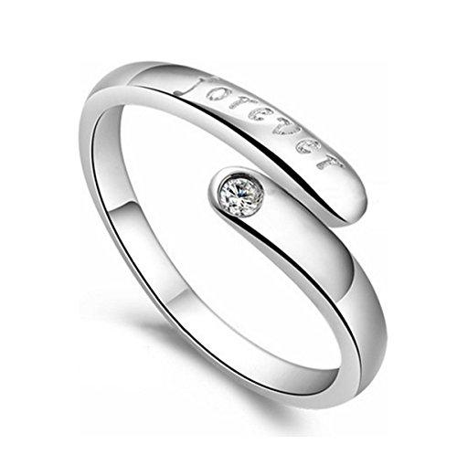 Preisvergleich Produktbild Incendemme Damen Ring mit Gravur FOREVER Fingerring Zirkonia Schmuck offene verstellbare Eheringe Freundschaftsringe Partnerringe Silber Weiß