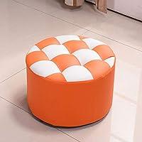 MO XIAO BEI Kleine Hocker Lederhocker Change Schuhbank Low Hocker Sofa Hocker Massivholz Esszimmerstuhl Familie (Farbe : Orange) preisvergleich bei kinderzimmerdekopreise.eu