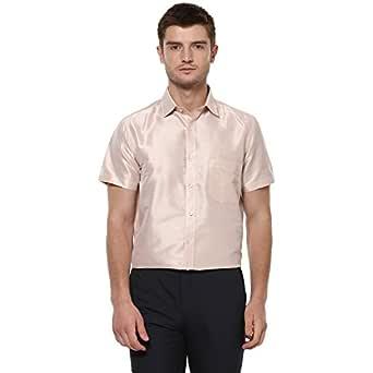 Khoday Williams Men Poly Silk Plain Solid Short Sleeve Regular Fit Casual Formal Shirt (Beige, 38)