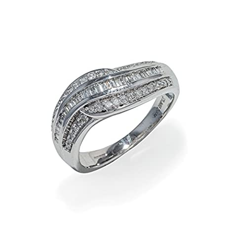B-Jeweled 9K White Gold Fancy Wave Shaped 0.35ct H/I1 Diamond Ring With Diamond Baguette Style Centre and Sorrounding Round Brilliants
