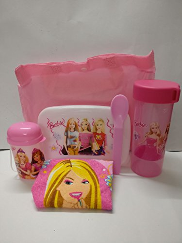Shopkooky Barbie Printed Designer Attractive LunchBox Set Spoon, Lunch box, WaterBottle, Handkerchief, Small Bottle and Carry Bag (6 Pcs), Pink  available at amazon for Rs.399