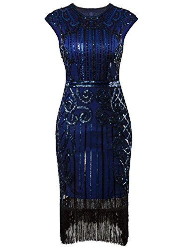 (1920er Jahre Vintage inspiriert Pailletten verschönert Fringe Gatsby Flapper Kostüm Kleid (S(EU 36-38), Blau))