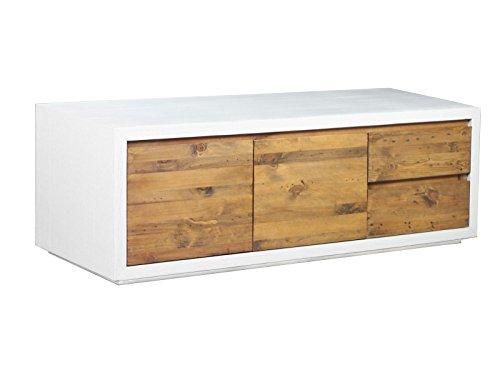 Woodkings® TV Bank Burnham, Lowboard aus recyceltem Pinien Holz rustikal, Korpus MDF Weiss, TV-Regal, TV Unterschrank, TV Board, Fernsehbank, Fernsehtisch, Loft & Wohnzimmer Möbel -
