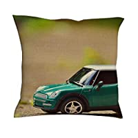 baotejianzhucailiao MIni Car Pillow Cover - Toy Car Beach Decor Stylish Linen Square Throw Pillow Case 45 * 45 for Living Room Decoration white 18x18inch