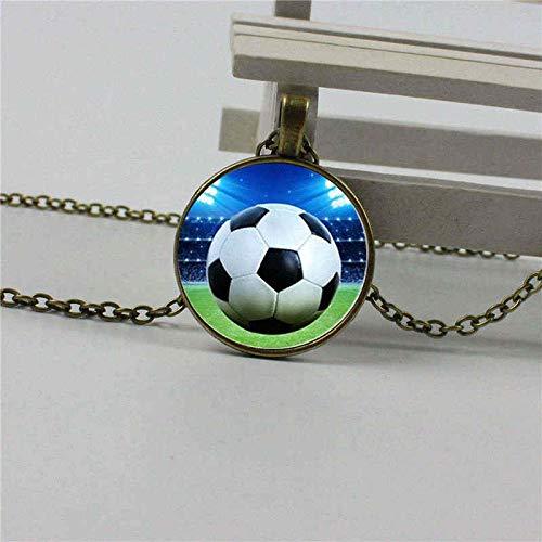 Heißer Verkauf Retro Kristall Fußball Cartoon Glas Halskette Kuppel Anhänger Handwerk Schmuck