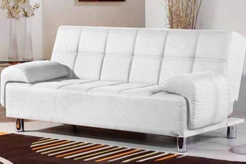 Gstore divano in ecopelle 3 posti + braccioli regolabili in altezza mega (bianco)
