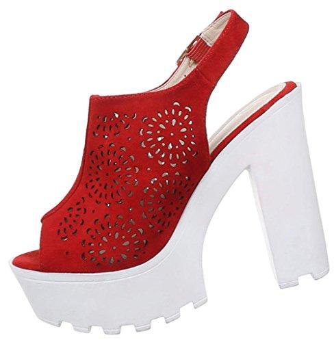 Damen Sandaletten Schuhe High Heels Stiletto Abendschuhe Business Club Pumps schwarz beige camel rot 36 37 38 39 40 41 Rot