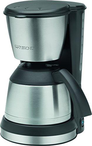 Clatronic KA 3563 - Cafetera eléctrica de goteo automática con jarra termo, máquina café de filtro capacidad 8 a 10 tazas, 1,2 litros, función de mantenedora calor, 870 W, negro y plata