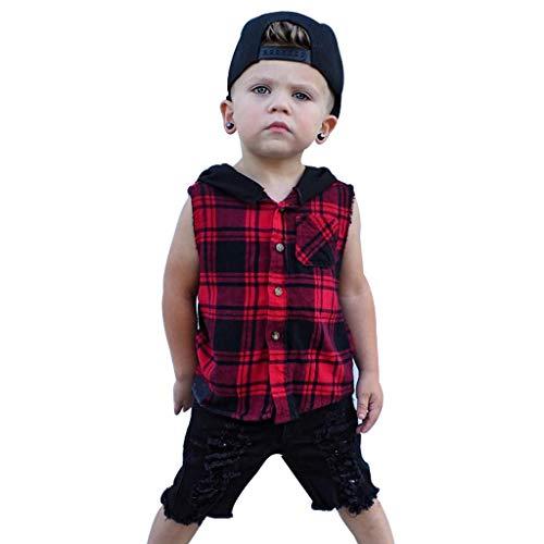 iHAZA Kinder KleinkindBaby Junge PlaidKapuzen Pullover Tops KapuzeT-Shirt Outfits Trainingsanzug