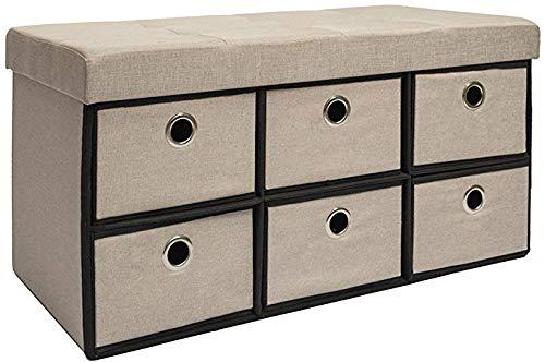 DuneDesign Otomana Cómoda Plegable 76x38x38cm con 6 cajones 80L pie de Cama escabel Rectangular sofá de Dos plazas Forrado con Tela Beis - Gris