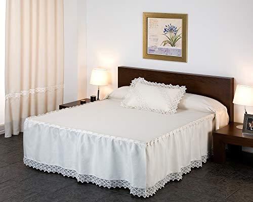 JM Textil Colcha con Volante Venecia - Tamaño de Cama : 135 cm - 135x220cm + 50cm de Volante