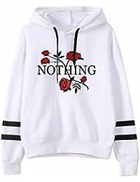 e426d1eb9e7 LUBITY Sweatshirt Hoodie Hiver Sweat-Shirt Femme Nothing   Sweat à Capuche  Imprimé à Manches Longues Pull à Capuche Femme Pull…