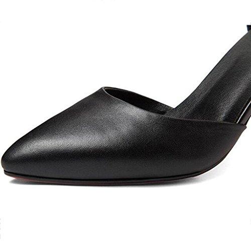 W&LM Scarpe da donna superficiale in pelle tacco alto Black