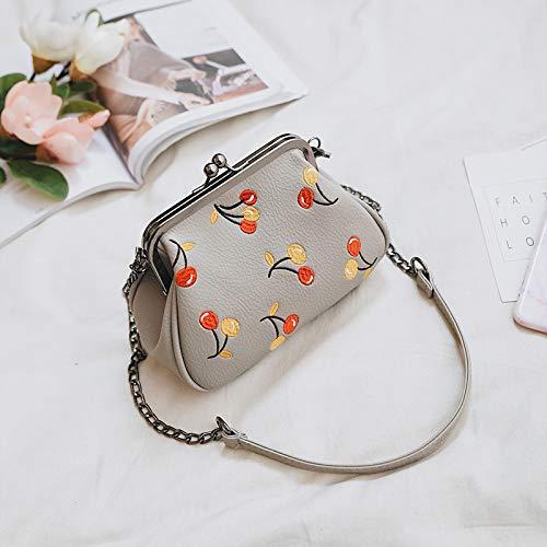 Gestickte Messenger Tasche (BAGNV Frauen einfache Schultertasche Messenger Bag Zustrom gestickte Schale Tasche von Frauen, Light Gray)