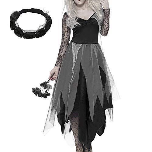 Dengofng halloween pizzo sexy sposa zombie costume fantasma sposa cadavere abito per adulti donna adatto per burla con copricapo - come immagine show, large