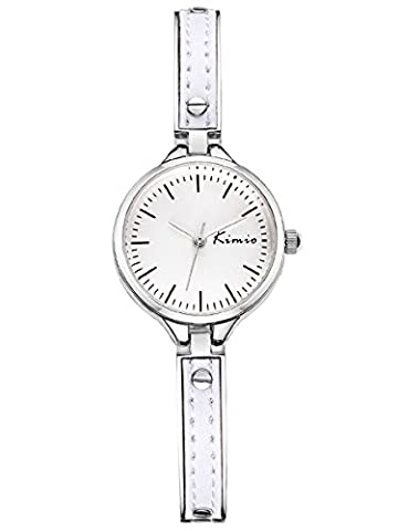 Alienwork Quartz Watch bracelet chain warp Wristwatch elegant stylish Metal white silver YH.K6223S-02