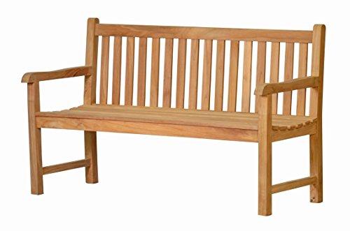Massive Gartenbank Andorra aus Teakholz, 130cm  Wetterfest  Nachhaltiges Plantagenholz  Klassisch geformte Balkon-Bank, Sitzbank aus Holz | Teakbank, 2-Sitzer mit Lehne für den Garten...