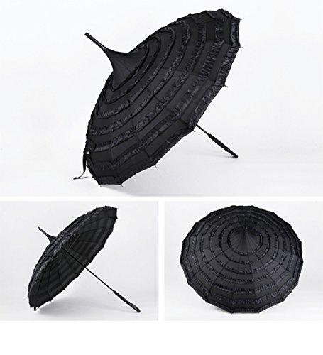 LYYUMBRELLAS Heirat mit rotem Lange Griff Umbrella Braut Pagode Umbrella Spitze Korean Version Shade Sunny Regenschirm (Farbe : #3)