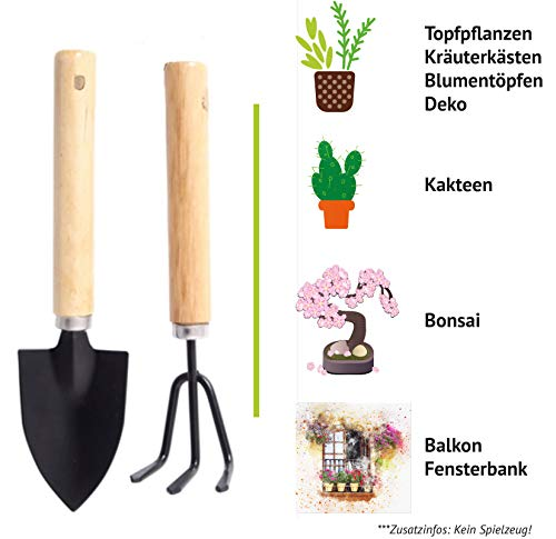 Feel Green Urban Gardening Mini Gartenwerkzeuge Elements Grow Your Own 2-Teiliges Set | Bonsai Werkzeug | Geschenkidee | Grubber & Blumenkelle