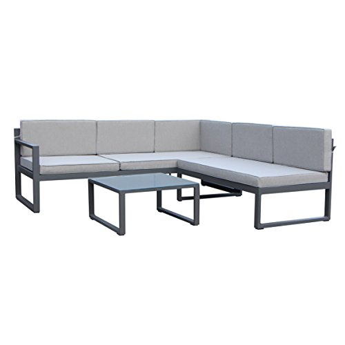 greemotion Gartenmöbel-Set Alu Costa Rica - Gartenlounge aus Aluminium mit Auflagen in Grau & 3...