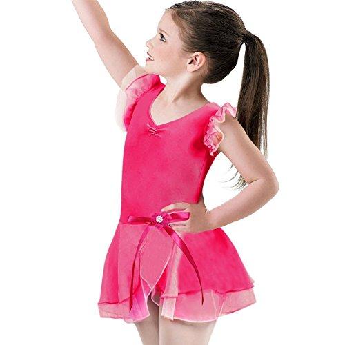 Asymmetrische Baumwolle Rock (OBEEII Mädchen Kleid Ballettkleid Kinder Ballett Trikot Ballettanzug Asymmetrische Kurzarm Baumwolle Tutu Rock Party Gymnastik Tanz Klavier Kostüm 7-8 Jahre Rose)