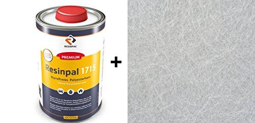 Komplettpaket-GFK: 1 Kg Polyesterharz Resinpal 1715 + 2 m² Glasfasermatte 300 g/m²