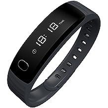 MAXAH H8 Pulsera Deportiva Inteligente Impermeable Reloj Pulsera de Actividad (Podómetro, Despertador, Cardíaco, Sueño, Captura Remota, Notificación Sedentaria, Bluetooth 4.0, para IOS y Andriod) (Negro)
