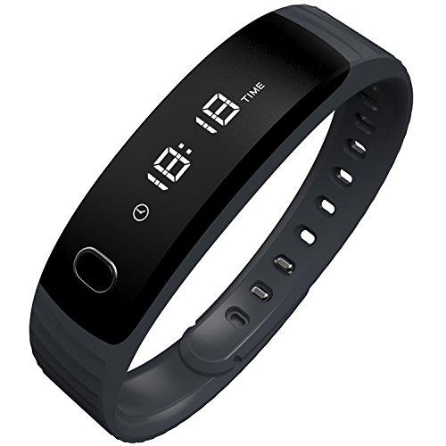 Fitnessarmband Bluetooth Fitness Tracker Smartwatch Armband MAXAH Smart Bracelet für Android Smartphone und iPhone,mit Schrittzähler,Kalorienzähler Schlaftracker und Anrufer Benachrichtigung (Schwarz)