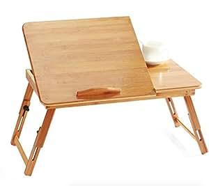 EVST portatile bambù pieghevole da tavolo per notebook regolabile in altezza tavolino da letto con cassetto (50cm*30cm*30cm without Ventilation Slots)
