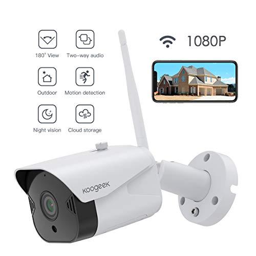 Überwachungskamera Aussen WLAN, Koogeek IP Kamera Outdoor WiFi Arbeitet mit Echo Show, Alexa, Google Assistant.HD 1080P mit 110 ° Weitwinkel, Zwei-Wege-Audio, 30m IR-Nachtsicht, Bewegungserkennung