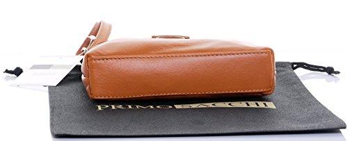 Italiano in morbida pelle, piccolo cinturino fronteggiato triplo vano cinghia regolabile croce corpo o borsa a tracolla.Include una custodia protettiva marca. Tan